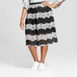 Who What Wear Black White Stripe Midi Lace Skirt